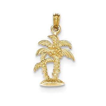 14K Yellow Gold Gold Polished & Textured Double Palm Trees Pendant