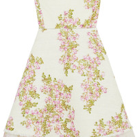 Giambattista Valli - Organza-trimmed floral-print tweed mini dress