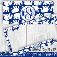 Blue White Elephants Monogram License Plate Frame Holder Metal Car Truck Tags Personalized Custom Vanity Lilly Inspired