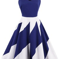 Atomic Blue And White Block Swing Dress