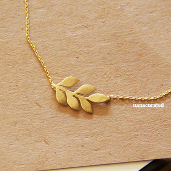 Leaf Branch Bar Charm Necklace, Hipster Charm Necklace, Necklaces, Gold Plated Necklace, Bar Necklace, Tiny Bar, Dog Tag, Minimal Jewelry
