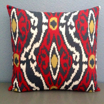 Red, Charcoal, Mustard Yellow Timberwolf Envelope Pillow Cover 18 in. Accent Pillow