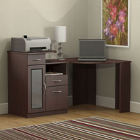 Contemporary Computer Desk Home Office Furniture Glossy Harvest Cherry Finish