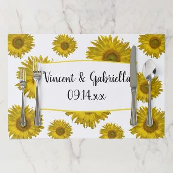 Yellow Sunflowers Wedding Paper Placemat