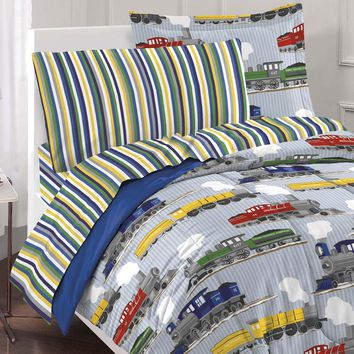 Trains Toddler Bedding Set Vintage Railroad Comforter Sheets