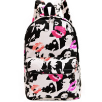 Womens Lips Printed Backpack