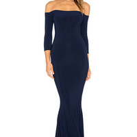 Norma Kamali Off The Shoulder Fishtail Gown in Midnight | REVOLVE