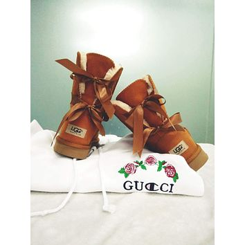 UGG Fashion Women Two Bow Shoes Boots Winter Warm In Tube Boots Shoes Brown I