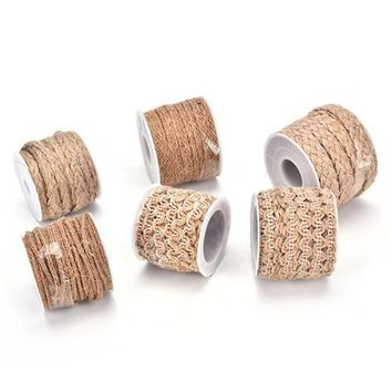 Home Spool Festival Scrapbooking DIY Craft Vintage Natural Hessian Jute Twine Rope Wedding Party Burlap Ribbon Decor 5M