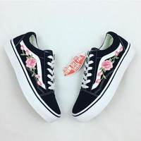 Rose vans, custom vans, rose embroidered vans, women's sneakers, old skool vans, sneak
