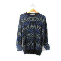 Vintage 80s abstract sweater. Bill Cosby sweater. Oversized sweater.