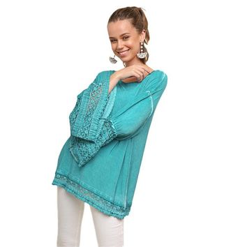 Michalina Tunic with Ruffle Lace Bell Sleeves