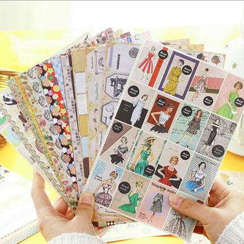 24pcs/lot Europe Poster stickers and Floral label decorative stickers Diary Scrapbook decorative stickers child kawaii DIY