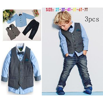 Children's clothing sets gentleman Boy's suit set Kids clothes set  long-sleeve shirts+vest+jeans+bow tie