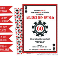 Casino Invitations - Poker Invitations - Man Birthday Invitation - Casino Party - Casino Birthday - Casino Night - Poker Party - Printed