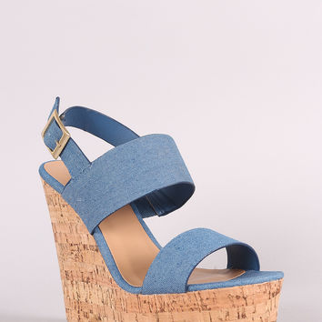 Bamboo Denim Platform Wedge | UrbanOG