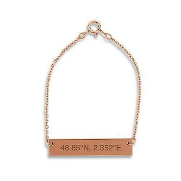 Horizontal Rectangle Tag Bracelet - Coordinates Rose Gold (Pack of 1)