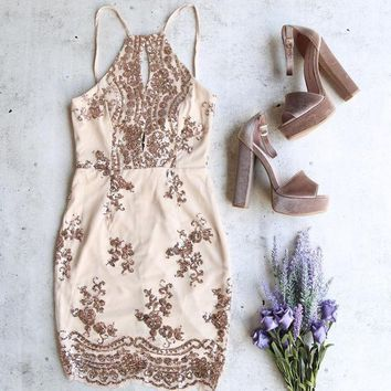 DCCK8H2 life of the party rose gold sequin bodycon dress