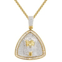 Sterling Silver Jesus Face Triangle Iced Out Pendant