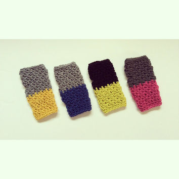 Fingerless Gloves Mitts Crochet Pink Blue Lime Gold Black Grey