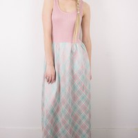 Vintage 80s Sparkly Pink Plaid Maxi Dress