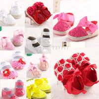 New Fashion Elegant Lovely  Butterfly-Knot Flower Infant Girls Toddler First Walkers Baby Shoes Size 0-18months