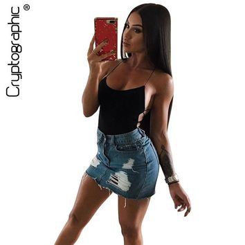 Cotton fashion backless sexy bodysuit body women strap lace up summer jumpsuit rompers bodysuits tops catsuit