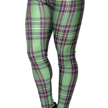 BadAssLeggings Women's Plaid Leggings Medium Green