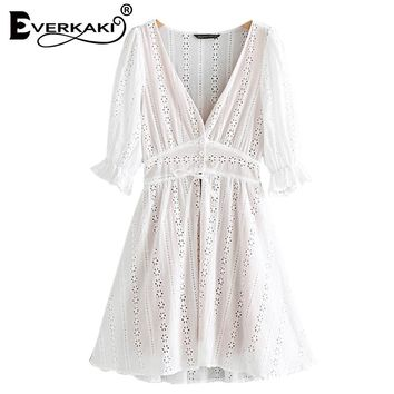 Everkaki Women Boho Lace Mini Dress Vestidos With Lining Solid V Neck Half Sleeve Vacation Bohemian Dresses Female New Arrivals