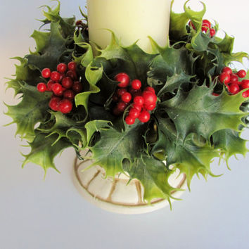 Vintage Candle Wreath Retro Plastic Christnas Holly Green Leaves Red Berries Designed By Lenox Original Tag Holiday Table Centerpiece Decor