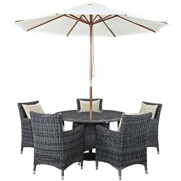 Summon 7 Piece Outdoor Patio Sunbrella Dining Set EEI-2328