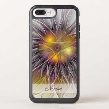 Luminous Colorful Flower Modern Fractal Name Speck iPhone Case