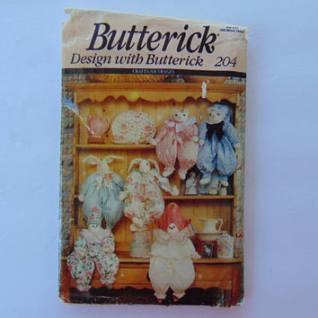 Butterick 204 Sewing Pattern Clown Bunny Cat Block Dolls UNCUT