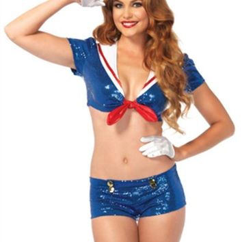 MDIGH3W 3PC.Sequin Sailor tie top w/anchor accents  booty shorts hat in BLUE/WHITE