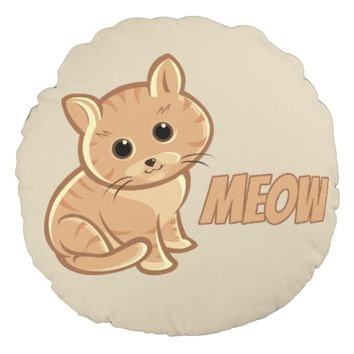 Tan Brown Cute Cat Round Throw Pillow