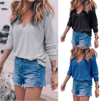 New Style Women's V Neck Knitted Long Sleeved Loose Casual Shirts Solid Color Slim Fit Bottoming Blouse Tops 4 Colors LX254