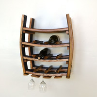 "WINE RACK -- ""Loire"" -- Hanging Wine Barrel Rack with glass holders -- 100% recycled"