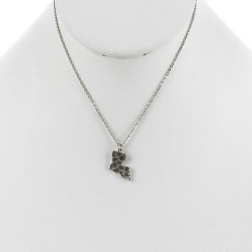 Sliver State Of Louisiana Charm Necklace