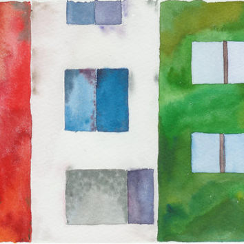 Wall. Original watercolor painting. Colorful houses. Unique Finnish art. Home decor. Special gift idea. Original acquarelle.