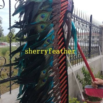 Turquoise Indian Feather headdress handmade feather costume indian chief war bonnet indian feather hat