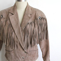 Vintage 80s Tan Leather Fringe Jacket // Women's Bohemian Southwestern Coat