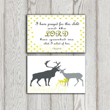 Nursery Deer decor Wall art print set of 2 Baby shower I have prayed for you Stag doe Fawn printable Grey yellow Lime green Christian quote
