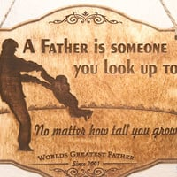 "Personalized Wood Engraved Hanging Sign ""World's Greatest Father"" ~ Gift for Him, Fathers Day, Holiday, Gift under 20, birthday, xmas"