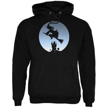 ESBGQ9 Halloween Witch Riding Broomstick Full Moon Mens Hoodie