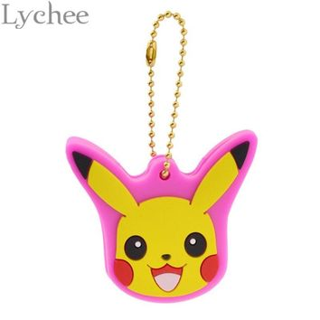 Lychee  Hot Japan Anime  Cute Silicone Pokeball Pikachu Key Cover Key Chain Key Ring for Men WomenKawaii Pokemon go  AT_89_9