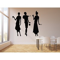Vinyl Wall Decal Music Jazz Retro Party Bar Cocktail Fashion Girls Stickers Mural (g1139)