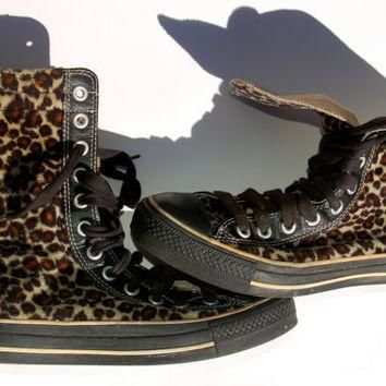 Rare Leopard Converse - Vintage X High Top - Faux Fur - Leather Lined