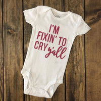 "Kids ""I'm Fixin To Cry Y'all"" Short Sleeve Onesuit"