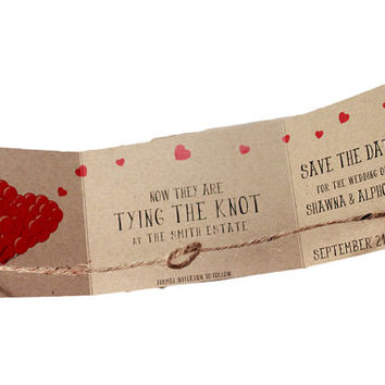 Kraft save the date, UP heart tri fold save the date, tying the knot save the date, rustic kraft save date, tie the knot, rustic set of 25