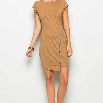 Camel Asymmetrical Hem Bodycon Dress